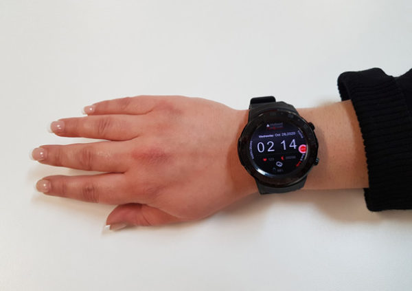 The INS LifeGuard Smartwatch V2 being worn by a lady